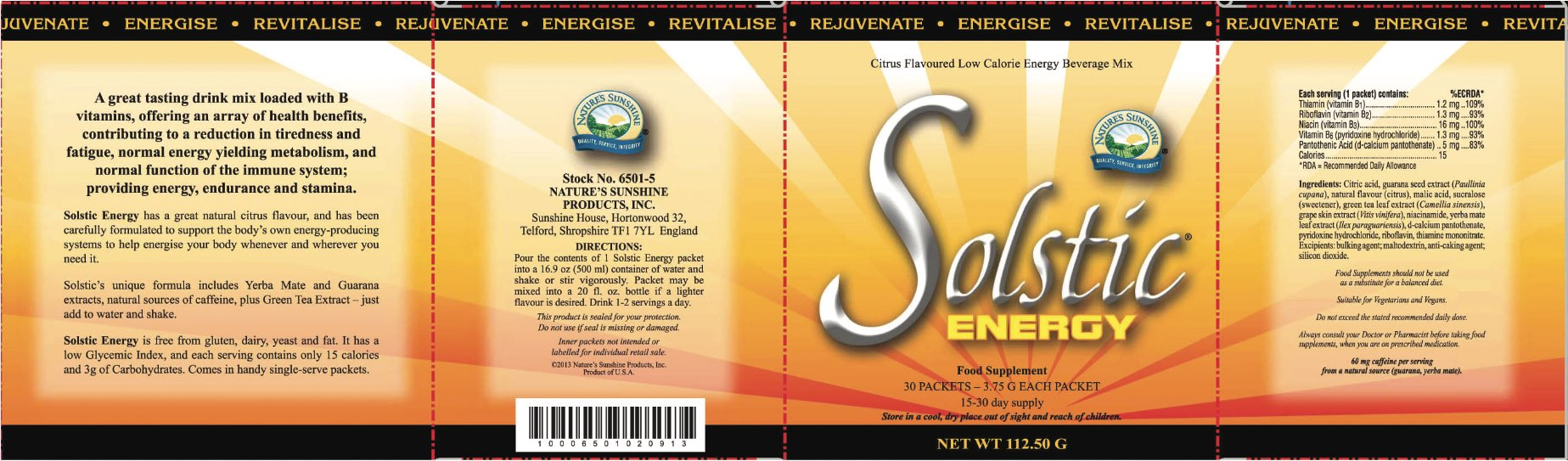 Nature's Sunshine - Solstic Energy (30 Sachets) - Label